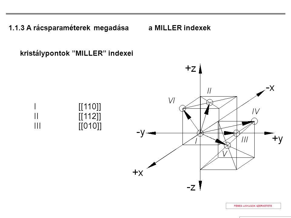 kristálypontok MILLER indexei I [[110]] II [[112]] III [[010]] a MILLER indexek FÉMES ANYAGOK SZERKETETE 1.1.3 A rácsparaméterek megadása