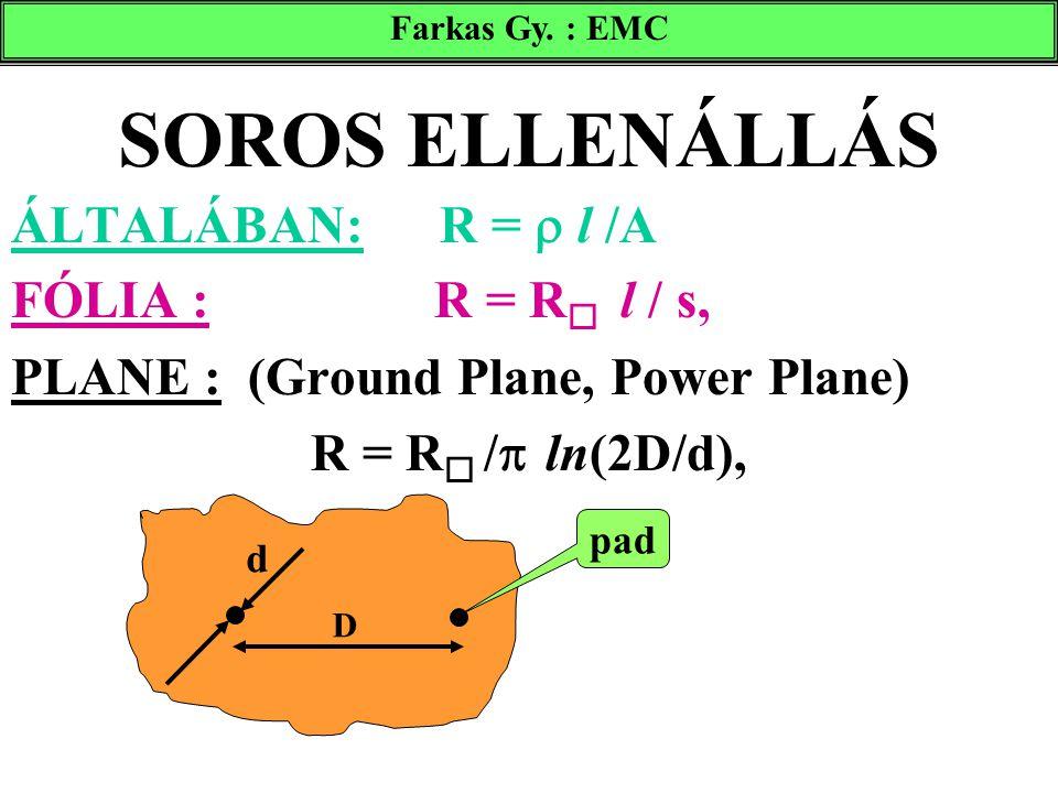 SOROS ELLENÁLLÁS ÁLTALÁBAN: R =  l /A FÓLIA : R = R  l / s, PLANE : (Ground Plane, Power Plane) R = R  /  ln(2D/d), D d pad Farkas Gy. : EMC