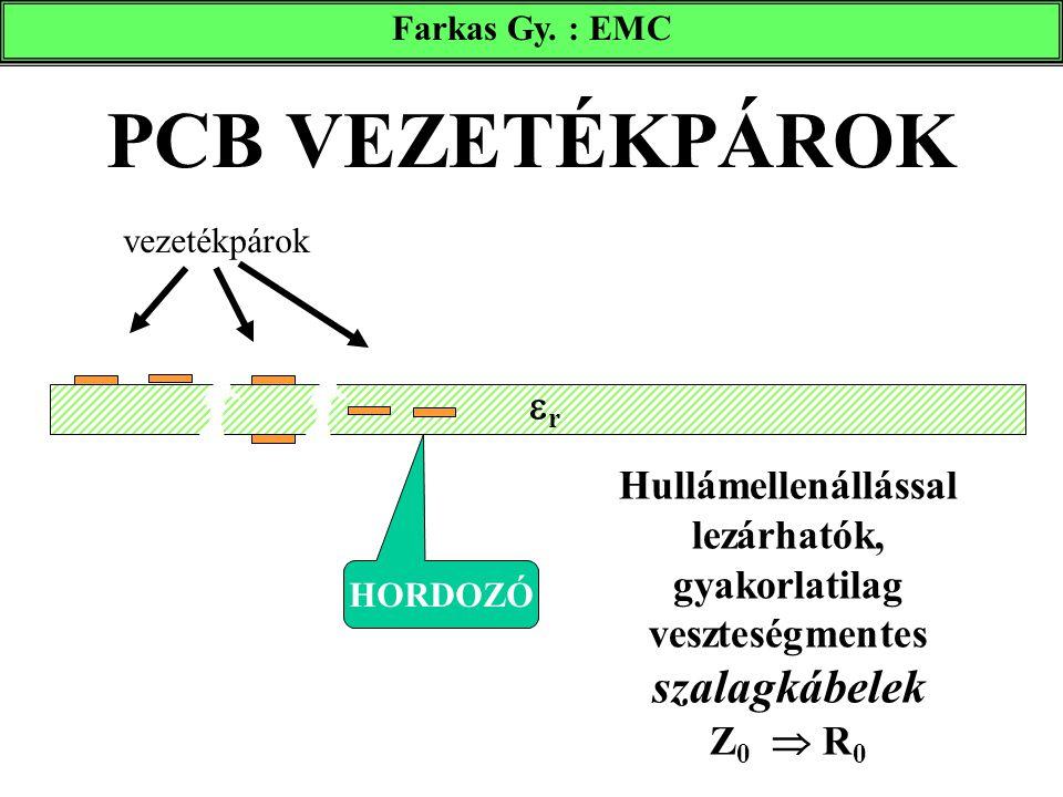 PCB VEZETÉKPÁROK vezetékpárok HORDOZÓ rr Hullámellenállással lezárhatók, gyakorlatilag veszteségmentes szalagkábelek Z 0  R 0 Farkas Gy. : EMC