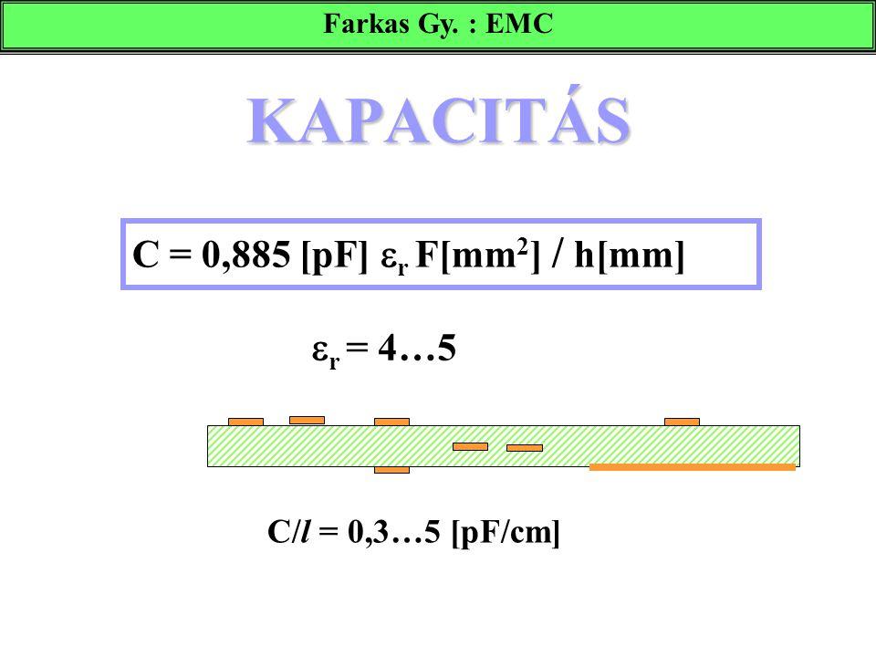 KAPACITÁS C = 0,885 [pF]  r F[mm 2 ] / h[mm]  r = 4…5 C/l = 0,3…5 [pF/cm] Farkas Gy. : EMC