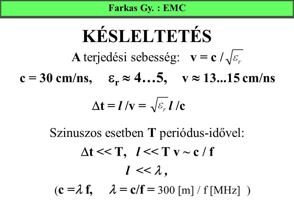 KÉSLELTETÉS Szinuszos esetben T periódus-idővel:  t << T, l << T v ~ c / f l <<, ( c = f, = c/f = 300 [m] / f [MHz] ) A terjedési sebesség: v = c / c