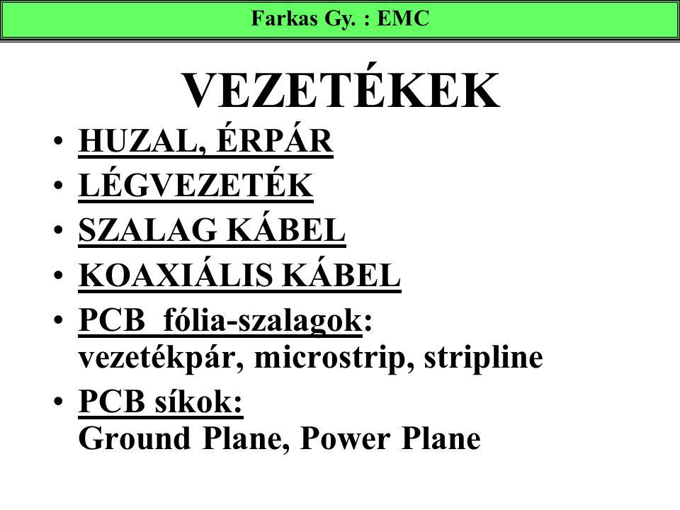 VEZETÉKEK HUZAL, ÉRPÁR LÉGVEZETÉK SZALAG KÁBEL KOAXIÁLIS KÁBEL PCB fólia-szalagok: vezetékpár, microstrip, stripline PCB síkok: Ground Plane, Power Pl