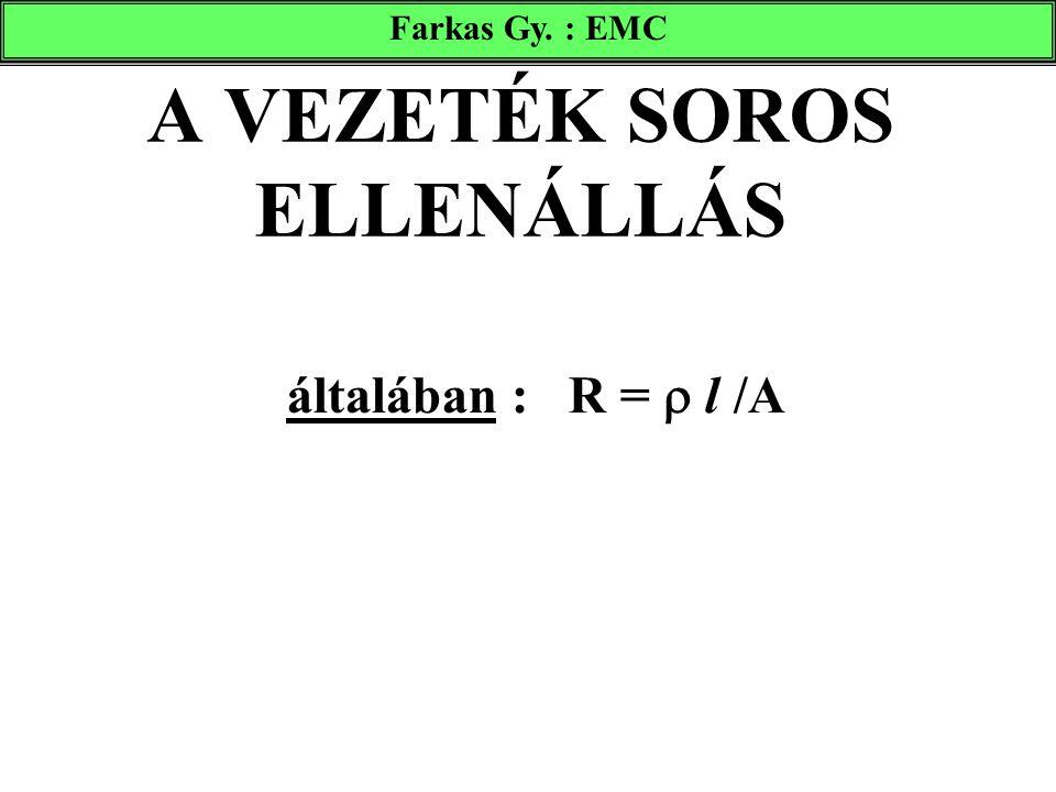 A VEZETÉK SOROS ELLENÁLLÁS általában : R =  l /A Farkas Gy. : EMC