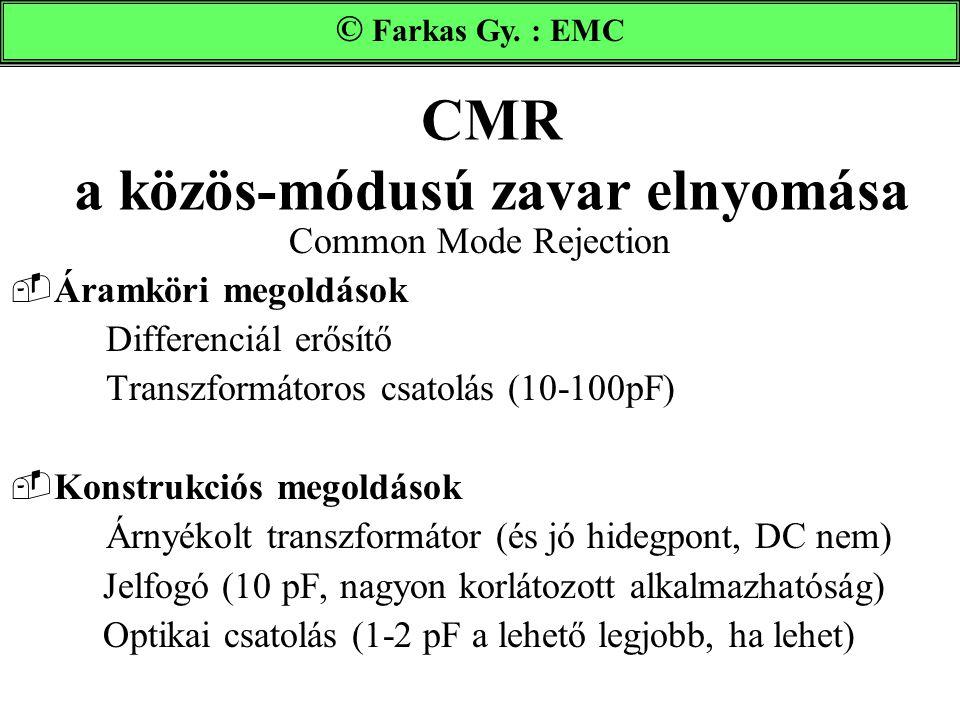 CMR a közös-módusú zavar elnyomása Common Mode Rejection  Áramköri megoldások Differenciál erősítő Transzformátoros csatolás (10-100pF)  Konstrukció