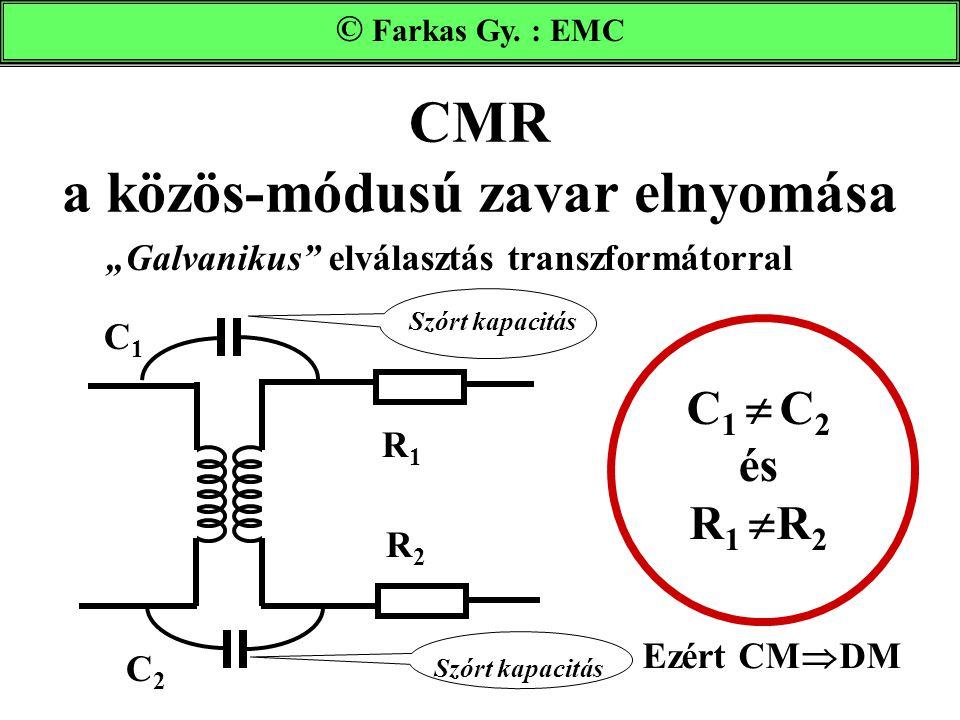 """CMR a közös-módusú zavar elnyomása Farkas Gy. : EMC """"Galvanikus"""" elválasztás transzformátorral Szórt kapacitás R1R1 C2C2 R2R2 C1C1 C 1  C 2 és R 1 """