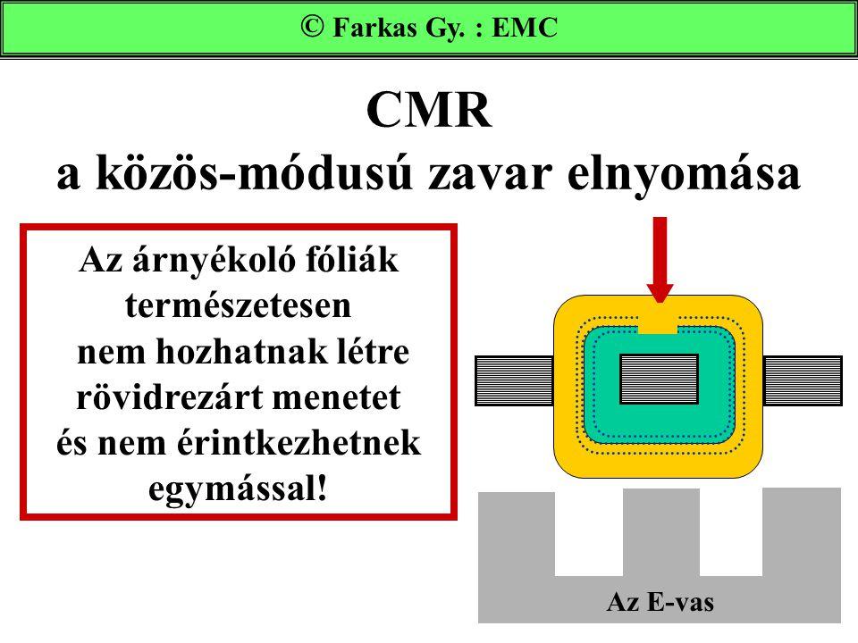 CMR a közös-módusú zavar elnyomása Farkas Gy. : EMC © Farkas Gy. : EMC Az E-vas Az árnyékoló fóliák természetesen nem hozhatnak létre rövidrezárt mene