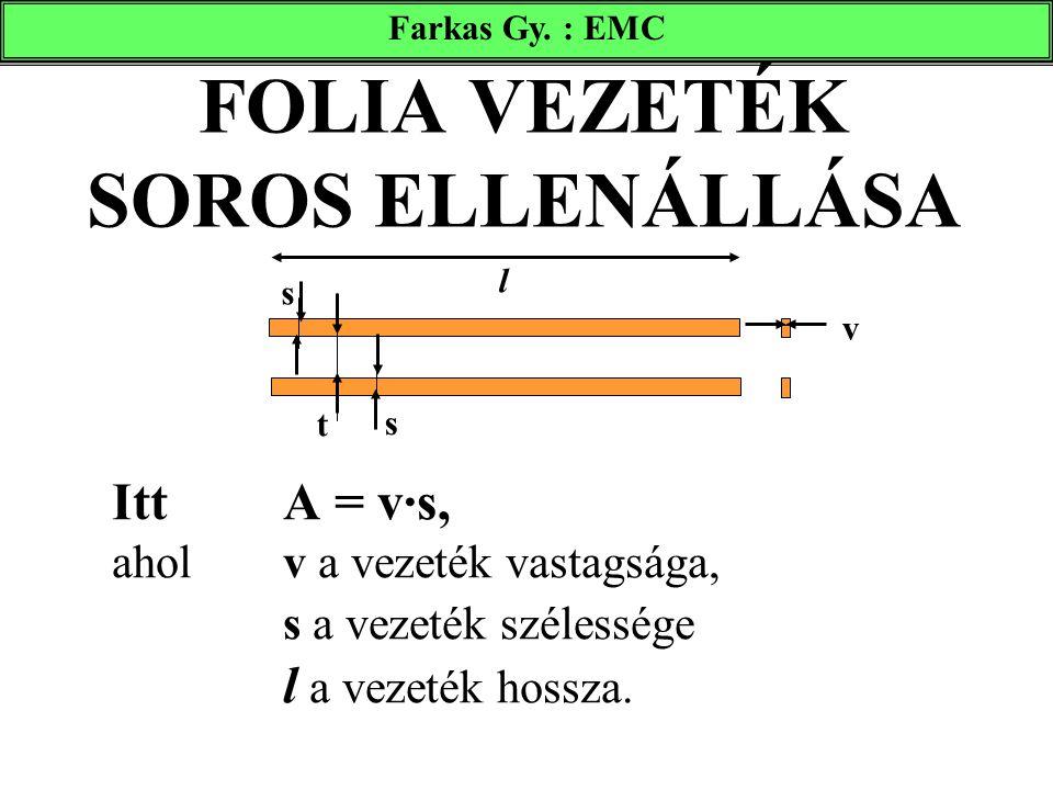 FOLIA VEZETÉK SOROS ELLENÁLLÁSA Itt A = v·s, aholv a vezeték vastagsága, s a vezeték szélessége l a vezeték hossza. s s t v l Farkas Gy. : EMC