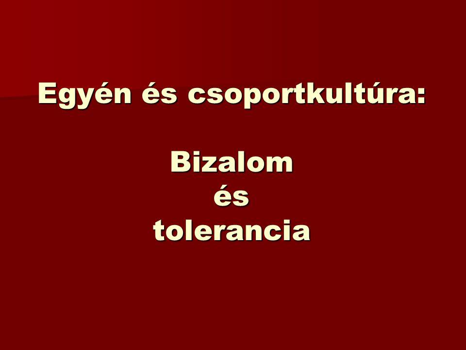 Egyén és csoportkultúra: Bizalom és tolerancia