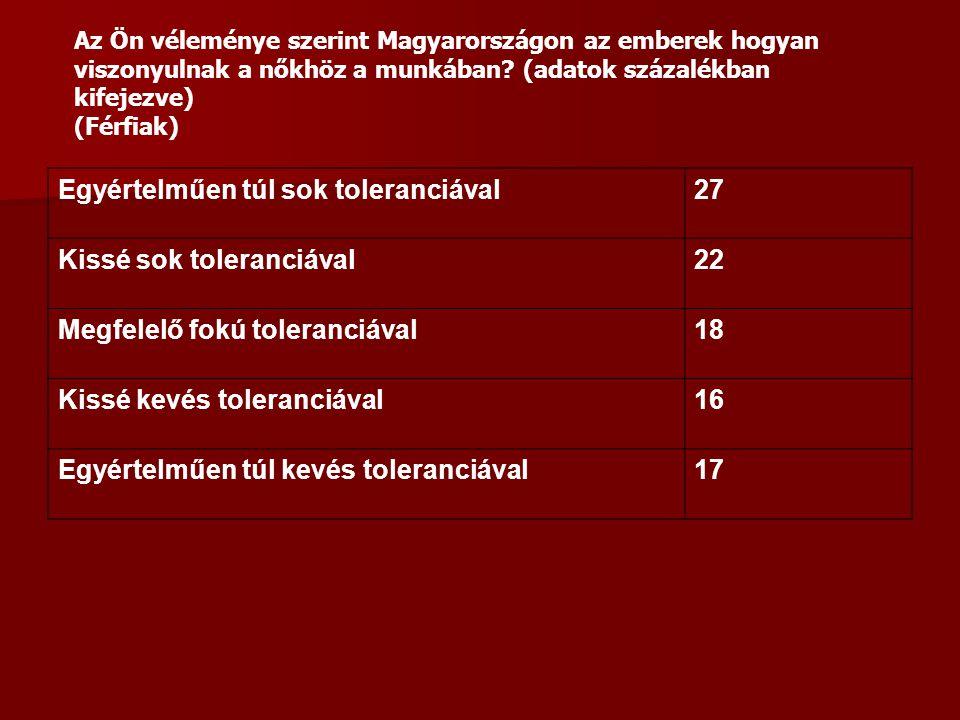 Egyértelműen túl sok toleranciával27 Kissé sok toleranciával22 Megfelelő fokú toleranciával18 Kissé kevés toleranciával16 Egyértelműen túl kevés toleranciával17 Az Ön véleménye szerint Magyarországon az emberek hogyan viszonyulnak a nőkhöz a munkában.