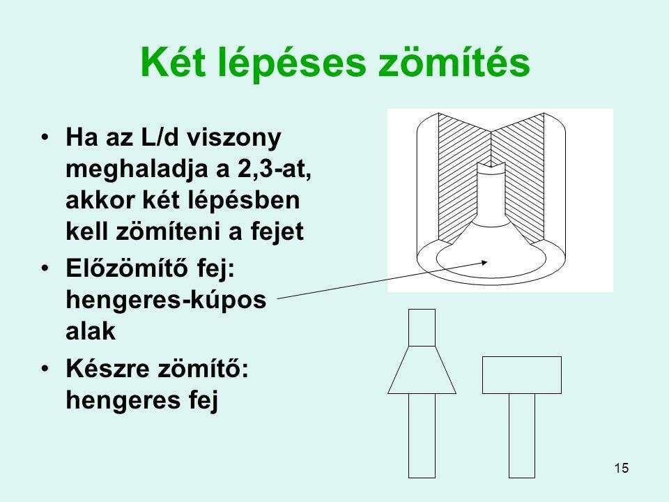 15 Két lépéses zömítés Ha az L/d viszony meghaladja a 2,3-at, akkor két lépésben kell zömíteni a fejet Előzömítő fej: hengeres-kúpos alak Készre zömít