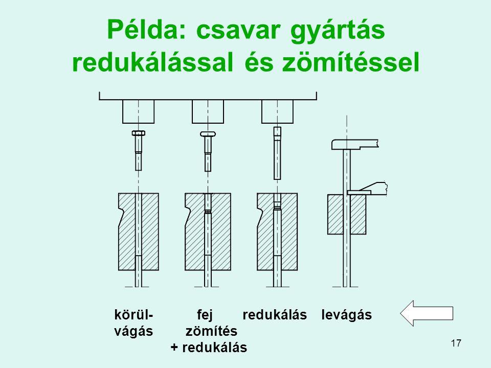 17 Példa: csavar gyártás redukálással és zömítéssel körül- fej redukálás levágás vágás zömítés + redukálás