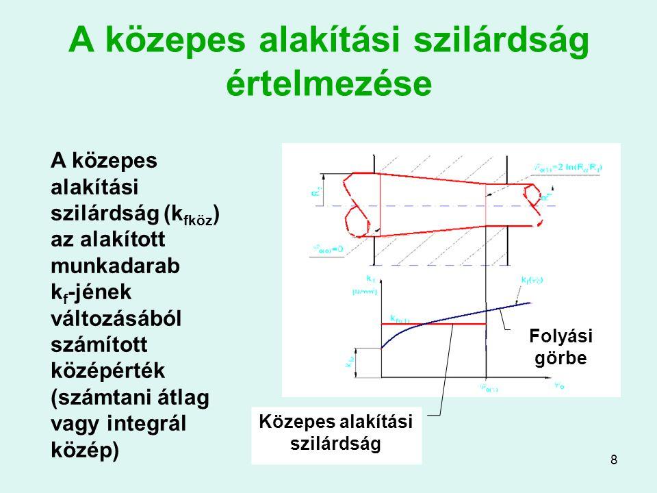 9 Redukáló szerszám szerkesztés A redukáló kúp szögét optimalizálni kell Paraméterek: súrlódási tényező, logaritmikus alakváltozás Az optimális szög 8…12 o között alakul a μ függvényében