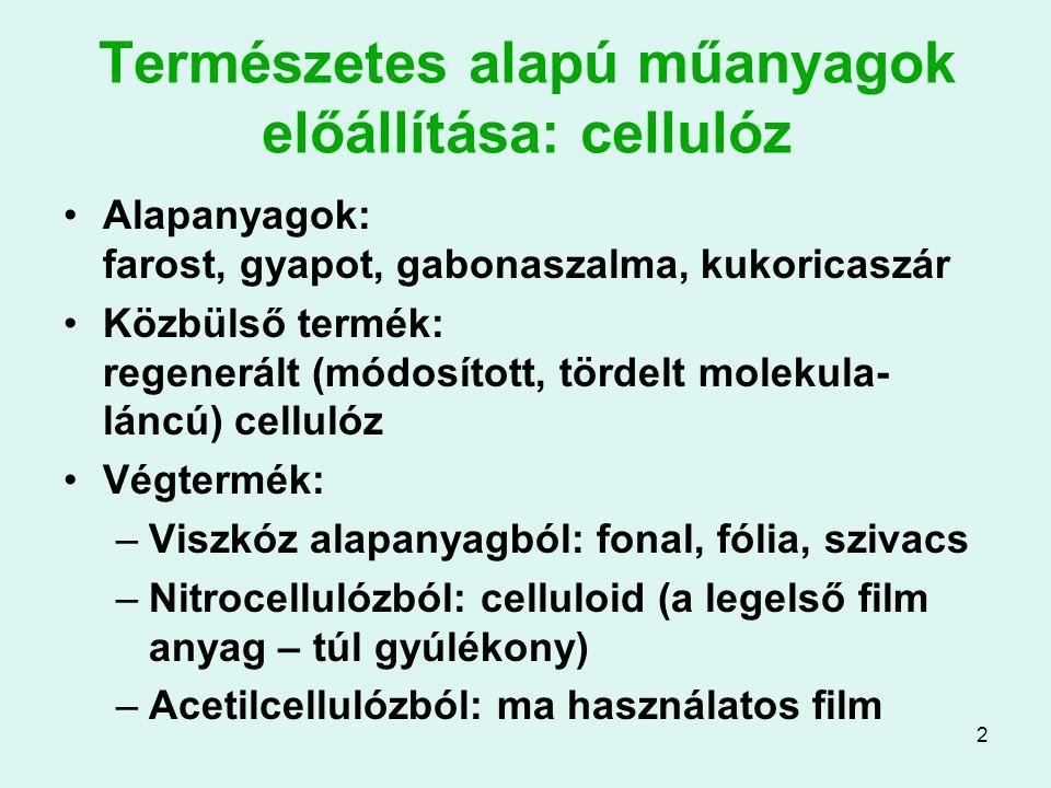 23 Műanyag habok előállítása: egyéb habok Extrudált polisztirol hab: polisztirol granulátumot extruderbe visznek, a képlékeny zónában adják hozzá a habosító adalékot, és a nyíláson kiengedve hozzák végső méretre Polietilén lágy hab (polifoam): polietilén + habosító adalékból lágy, alakítható hab nyerhető Poliuretán habok: poliizoacetát és poliol kis vízzel összekever- ve, CO 2 fejlődés mellett habosodik