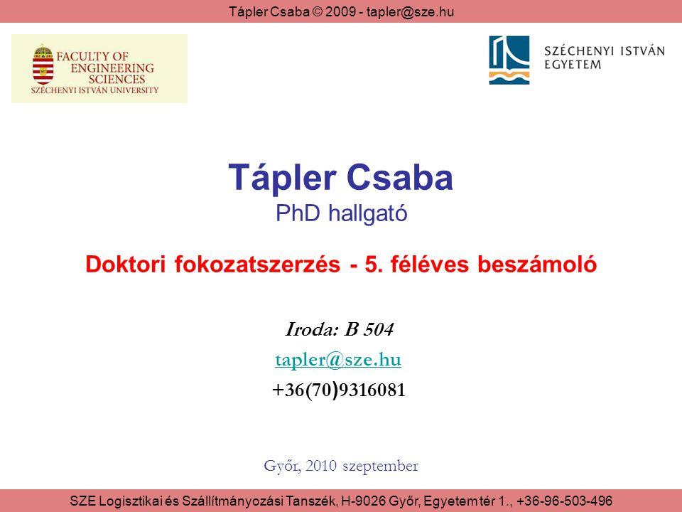 Tápler Csaba © 2009 - tapler@sze.hu SZE Logisztikai és Szállítmányozási Tanszék, H-9026 Győr, Egyetem tér 1., +36-96-503-496 A jelentés felépítése 1.Szervezett képzés 2.Kiegészítő feladatok 2/1 - Publikációk 2/2 - Konferenciák 2/3 - Kutatási feladatok 2/4 - Oktatás 3.Disszertáció állapota