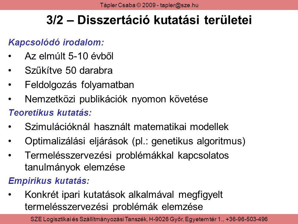 Tápler Csaba © 2009 - tapler@sze.hu SZE Logisztikai és Szállítmányozási Tanszék, H-9026 Győr, Egyetem tér 1., +36-96-503-496 3/2 – Disszertáció kutatási területei Kapcsolódó irodalom: Az elmúlt 5-10 évből Szűkítve 50 darabra Feldolgozás folyamatban Nemzetközi publikációk nyomon követése Teoretikus kutatás: Szimulációknál használt matematikai modellek Optimalizálási eljárások (pl.: genetikus algoritmus) Termelésszervezési problémákkal kapcsolatos tanulmányok elemzése Empirikus kutatás: Konkrét ipari kutatások alkalmával megfigyelt termelésszervezési problémák elemzése