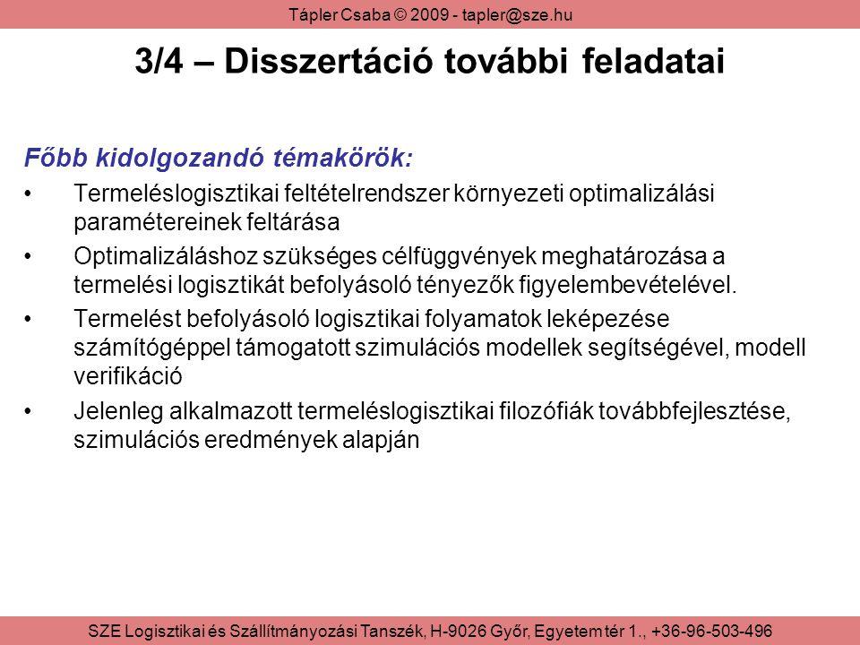 Tápler Csaba © 2009 - tapler@sze.hu SZE Logisztikai és Szállítmányozási Tanszék, H-9026 Győr, Egyetem tér 1., +36-96-503-496 3/4 – Disszertáció további feladatai Főbb kidolgozandó témakörök: Termeléslogisztikai feltételrendszer környezeti optimalizálási paramétereinek feltárása Optimalizáláshoz szükséges célfüggvények meghatározása a termelési logisztikát befolyásoló tényezők figyelembevételével.