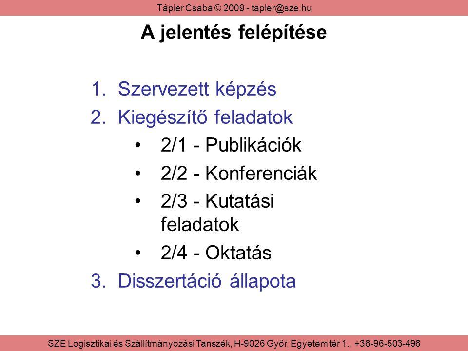 Tápler Csaba © 2009 - tapler@sze.hu SZE Logisztikai és Szállítmányozási Tanszék, H-9026 Győr, Egyetem tér 1., +36-96-503-496 3/1 – Disszertáció általánosan Kutatási téma: A diverzifikált nagysorozatú termelést támogató termelésszervezési és ellátási modellek továbbfejlesztése Témavezető: Dr.