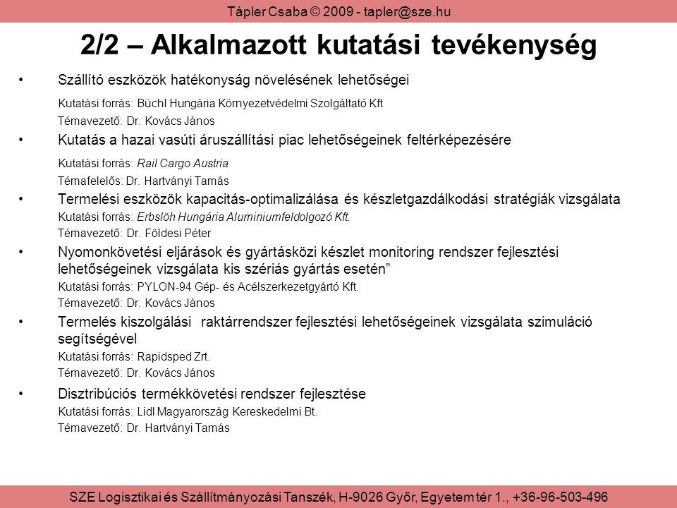 Tápler Csaba © 2009 - tapler@sze.hu SZE Logisztikai és Szállítmányozási Tanszék, H-9026 Győr, Egyetem tér 1., +36-96-503-496 2/2 – Alkalmazott kutatási tevékenység Szállító eszközök hatékonyság növelésének lehetőségei Kutatási forrás: Büchl Hungária Környezetvédelmi Szolgáltató Kft Témavezető: Dr.
