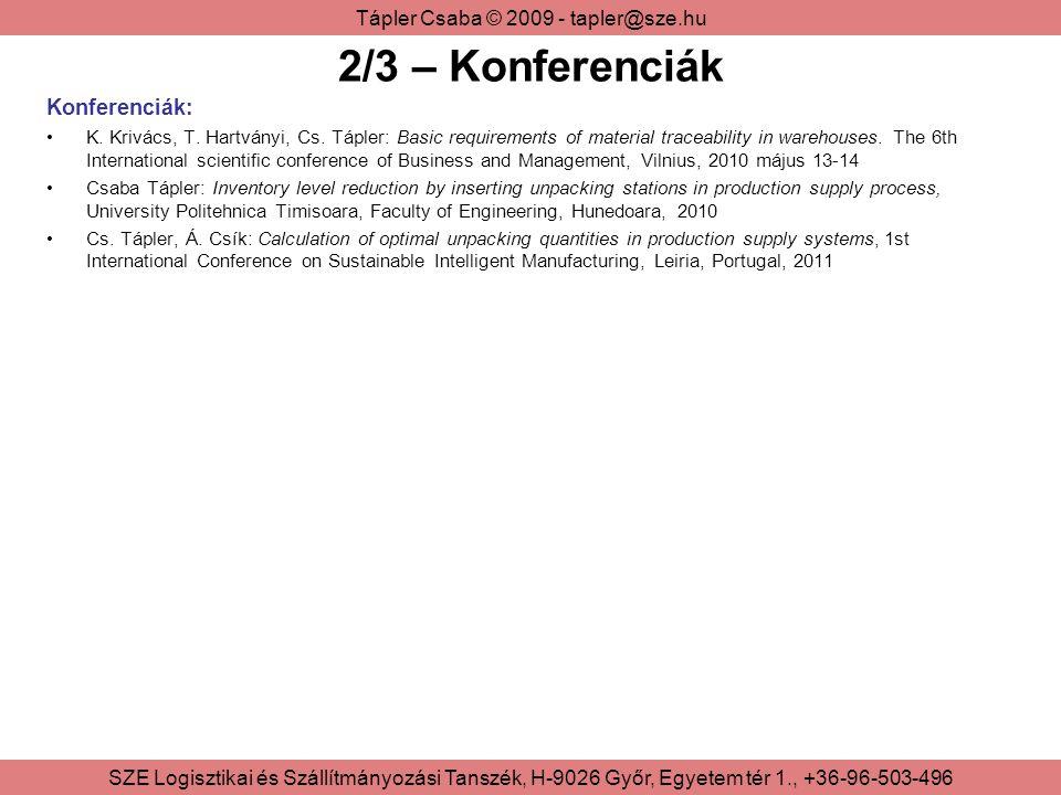 Tápler Csaba © 2009 - tapler@sze.hu SZE Logisztikai és Szállítmányozási Tanszék, H-9026 Győr, Egyetem tér 1., +36-96-503-496 2/3 – Konferenciák Konferenciák: K.