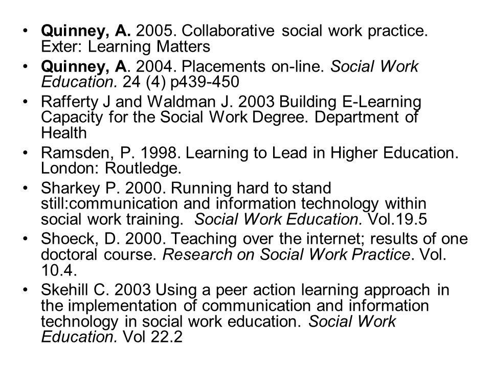 Quinney, A. 2005. Collaborative social work practice. Exter: Learning Matters Quinney, A. 2004. Placements on-line. Social Work Education. 24 (4) p439