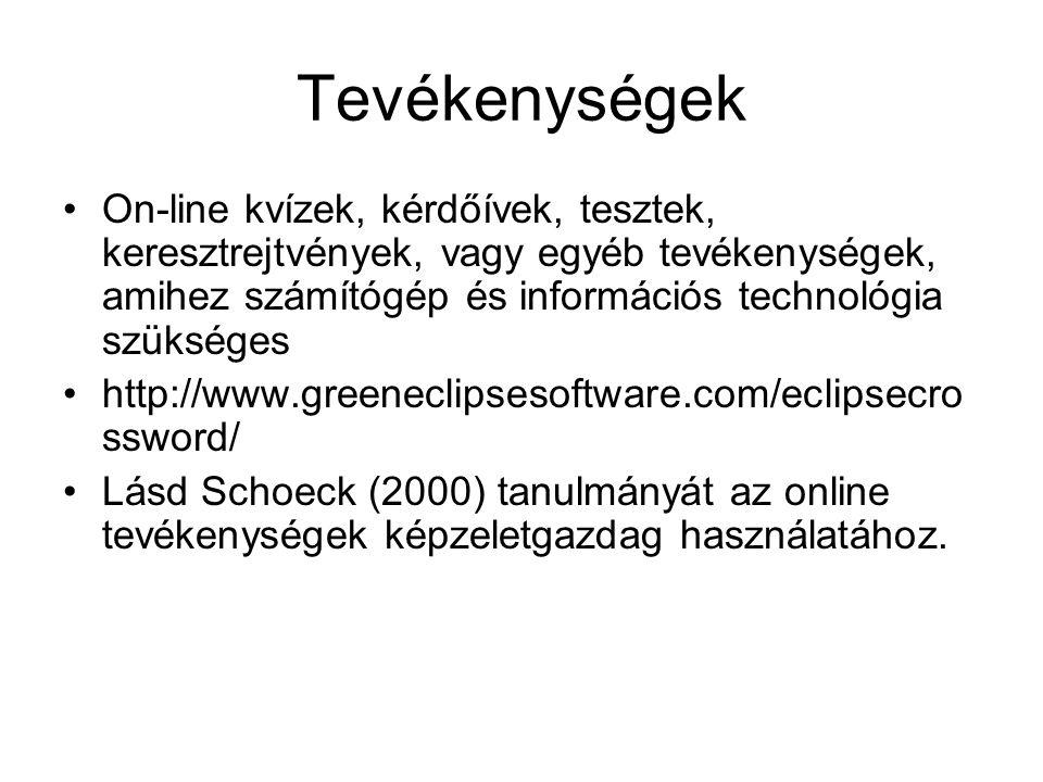 Tevékenységek On-line kvízek, kérdőívek, tesztek, keresztrejtvények, vagy egyéb tevékenységek, amihez számítógép és információs technológia szükséges http://www.greeneclipsesoftware.com/eclipsecro ssword/ Lásd Schoeck (2000) tanulmányát az online tevékenységek képzeletgazdag használatához.