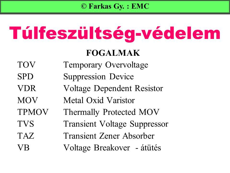 Túlfeszültség-védelem © Farkas Gy. : EMC FOGALMAK TOV Temporary Overvoltage SPD Suppression Device VDR Voltage Dependent Resistor MOV Metal Oxid Varis