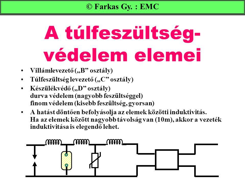 """A túlfeszültség- védelem elemei © Farkas Gy. : EMC Villámlevezető (""""B"""" osztály) Túlfeszültség levezető (""""C"""" osztály) Készülékvédő (""""D"""" osztály) durva"""