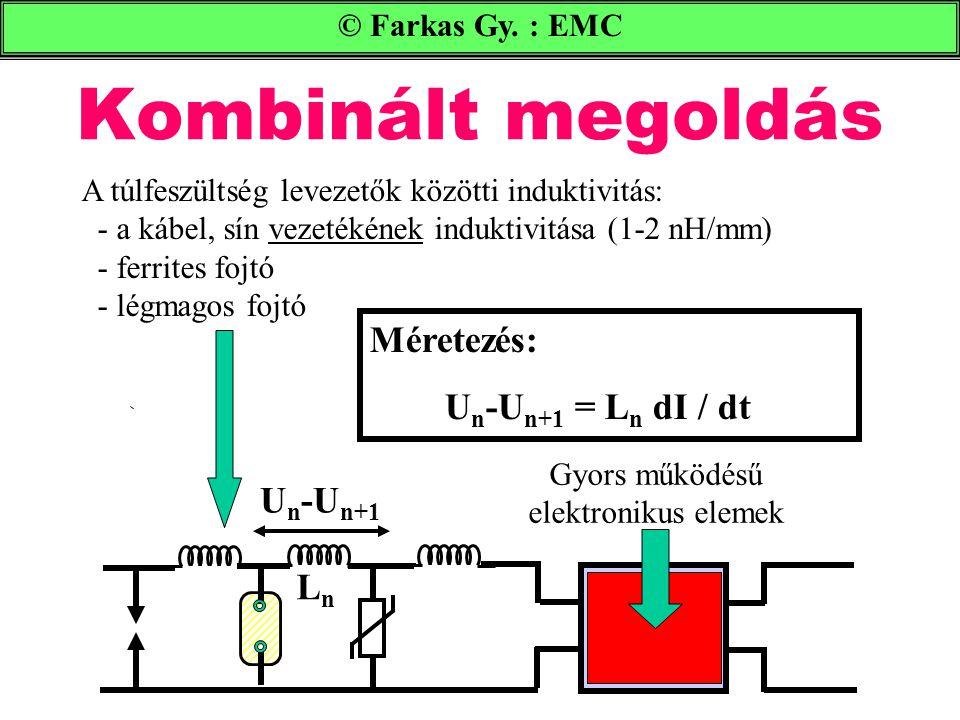 Kombinált megoldás © Farkas Gy. : EMC A túlfeszültség levezetők közötti induktivitás: - a kábel, sín vezetékének induktivitása (1-2 nH/mm) - ferrites
