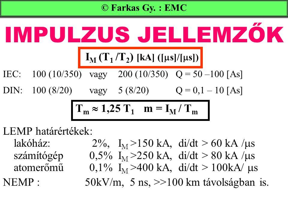 IMPULZUS JELLEMZŐK © Farkas Gy. : EMC I M (T 1 /T 2 ) [kA] ([  s]/[  s]) IEC:100 (10/350) vagy200 (10/350)Q = 50 –100 [As] DIN:100 (8/20)vagy 5 (8/2