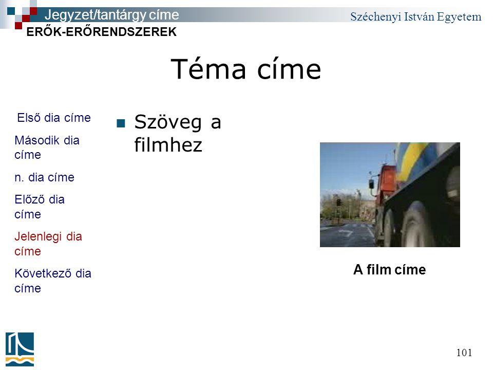Széchenyi István Egyetem 101 Téma címe Szöveg a filmhez Első dia címe Második dia címe n.