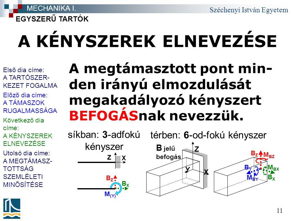 Széchenyi István Egyetem 11 A KÉNYSZEREK ELNEVEZÉSE A megtámasztott pont min- den irányú elmozdulását megakadályozó kényszert BEFOGÁSnak nevezzük.