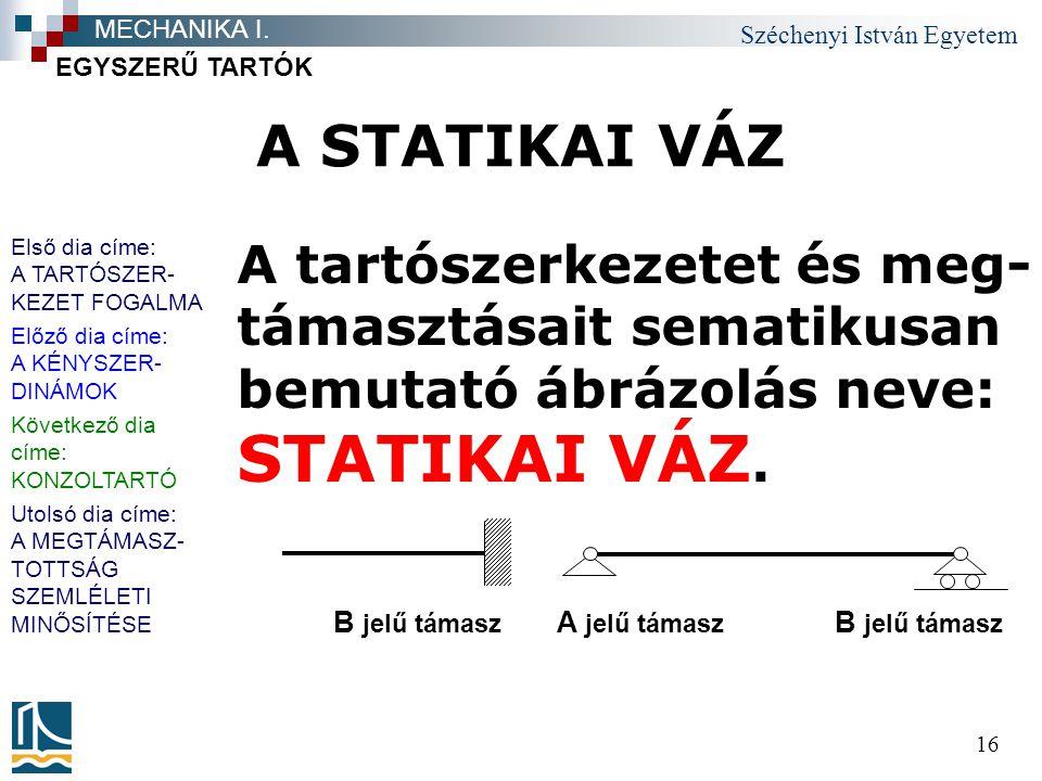 Széchenyi István Egyetem 16 A STATIKAI VÁZ A tartószerkezetet és meg- támasztásait sematikusan bemutató ábrázolás neve: STATIKAI VÁZ.