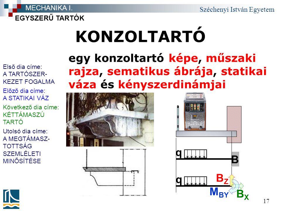 Széchenyi István Egyetem 17 KONZOLTARTÓ EGYSZERŰ TARTÓK MECHANIKA I.