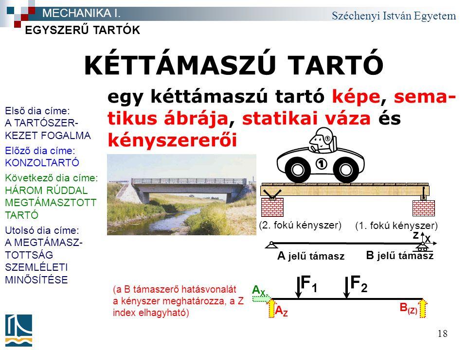 Széchenyi István Egyetem 18 KÉTTÁMASZÚ TARTÓ EGYSZERŰ TARTÓK MECHANIKA I.