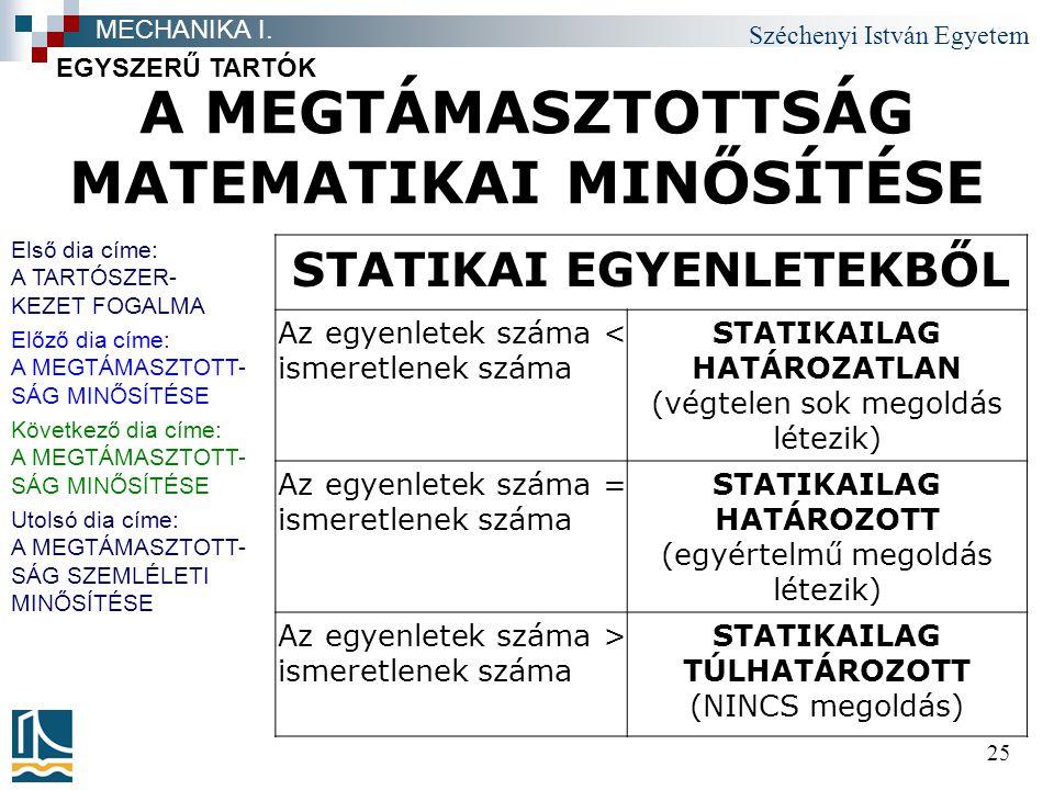 Széchenyi István Egyetem 25 A MEGTÁMASZTOTTSÁG MATEMATIKAI MINŐSÍTÉSE EGYSZERŰ TARTÓK MECHANIKA I.