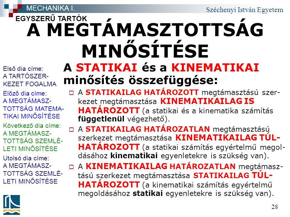 Széchenyi István Egyetem 28 A MEGTÁMASZTOTTSÁG MINŐSÍTÉSE A STATIKAI és a KINEMATIKAI minősítés összefüggése:  A STATIKAILAG HATÁROZOTT megtámasztású szer- kezet megtámasztása KINEMATIKAILAG IS HATÁROZOTT (a statikai és a kinematika számítás függetlenül végezhető).