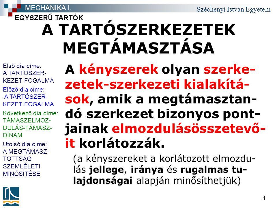 Széchenyi István Egyetem 5 TÁMASZELMOZDULÁS- TÁMASZDINÁM Általános, mindig érvényes elv- ként kell megjegyeznünk, hogy amilyen jellegű és irányú elmozdulást a kényszer (meg)akadályoz, olyan jelle- gű és irányú támaszigény- bevételre mindig számíta- nunk kell.