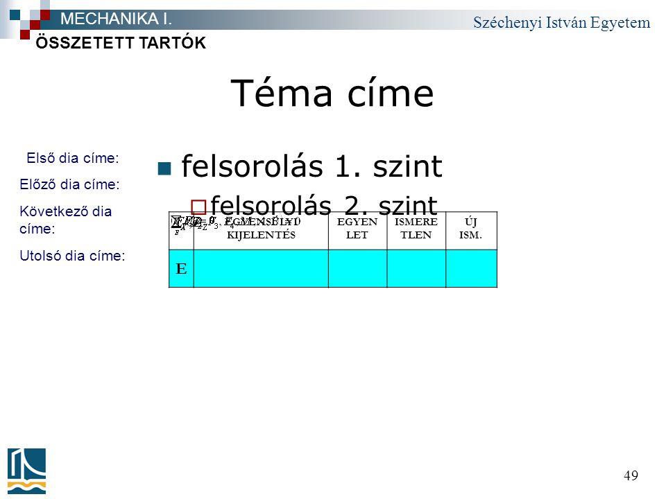Széchenyi István Egyetem 49 Téma címe felsorolás 1.