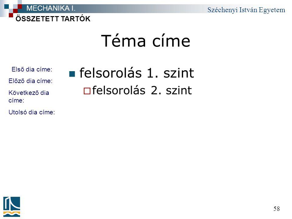 Széchenyi István Egyetem 58 Téma címe felsorolás 1.