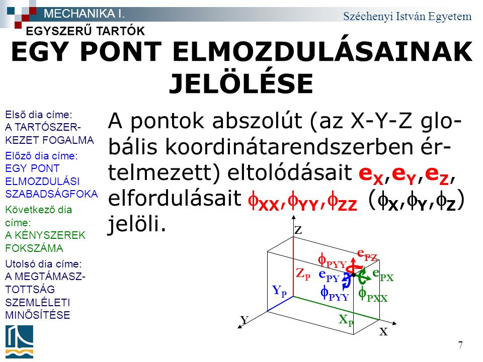 Széchenyi István Egyetem 38 Téma címe felsorolás 1.