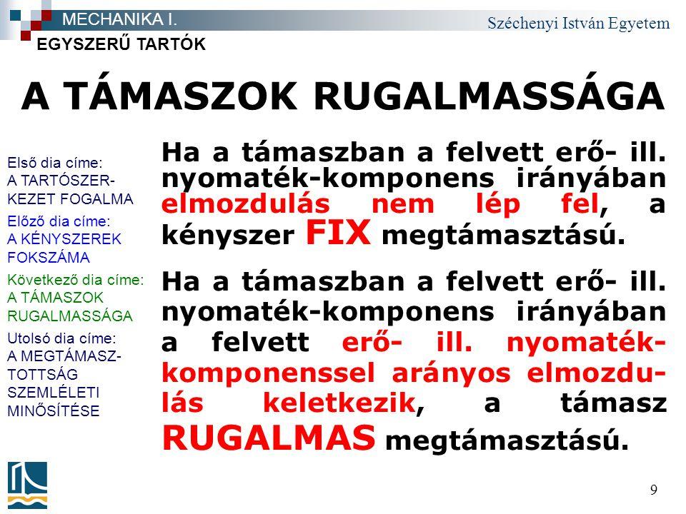 Széchenyi István Egyetem 10 A TÁMASZOK RUGALMASSÁGA EGYSZERŰ TARTÓK MECHANIKA I.