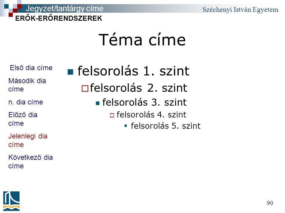 Széchenyi István Egyetem 90 Téma címe felsorolás 1.