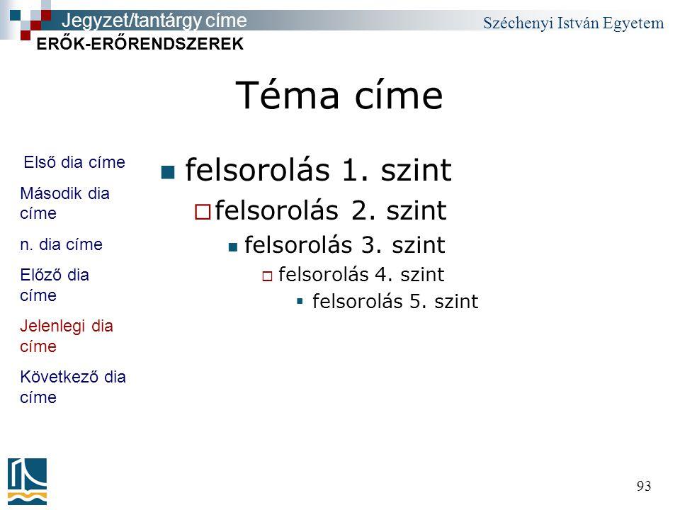 Széchenyi István Egyetem 93 Téma címe felsorolás 1.