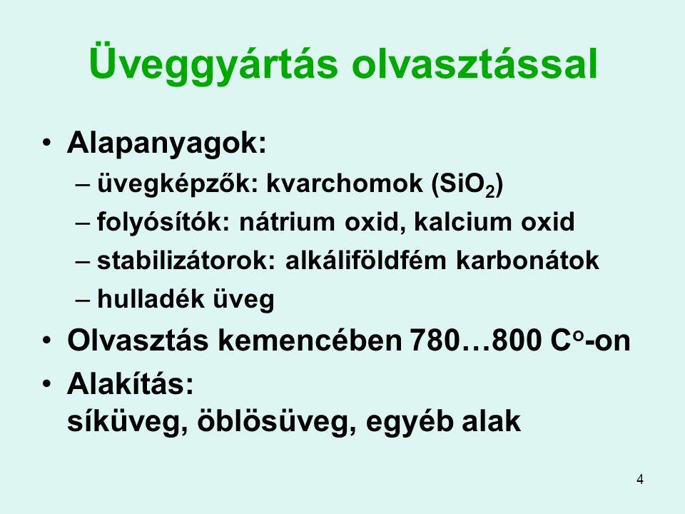 4 Üveggyártás olvasztással Alapanyagok: –üvegképzők: kvarchomok (SiO 2 ) –folyósítók: nátrium oxid, kalcium oxid –stabilizátorok: alkáliföldfém karbon