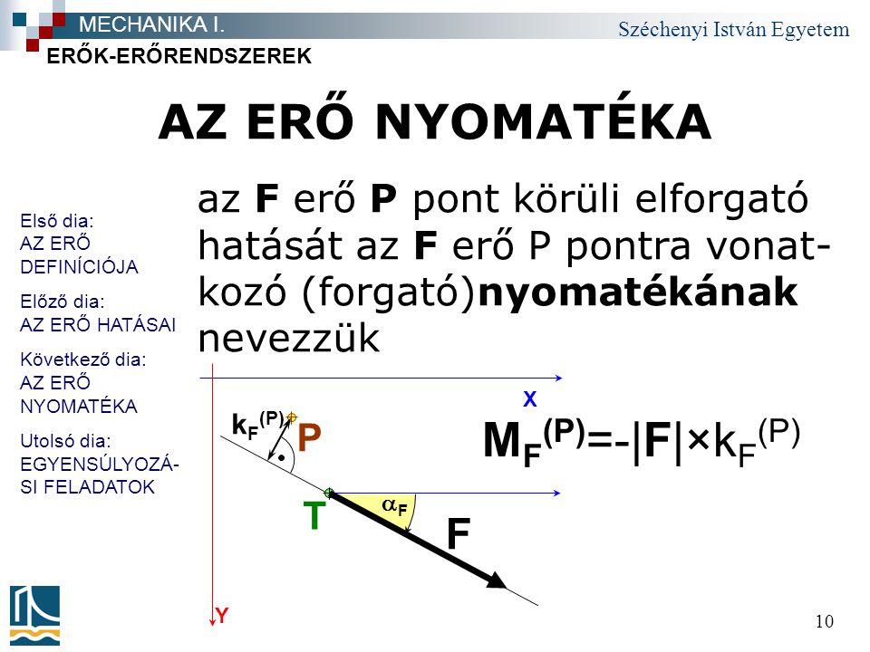 Széchenyi István Egyetem 10 AZ ERŐ NYOMATÉKA az F erő P pont körüli elforgató hatását az F erő P pontra vonat- kozó (forgató)nyomatékának nevezzük ERŐ