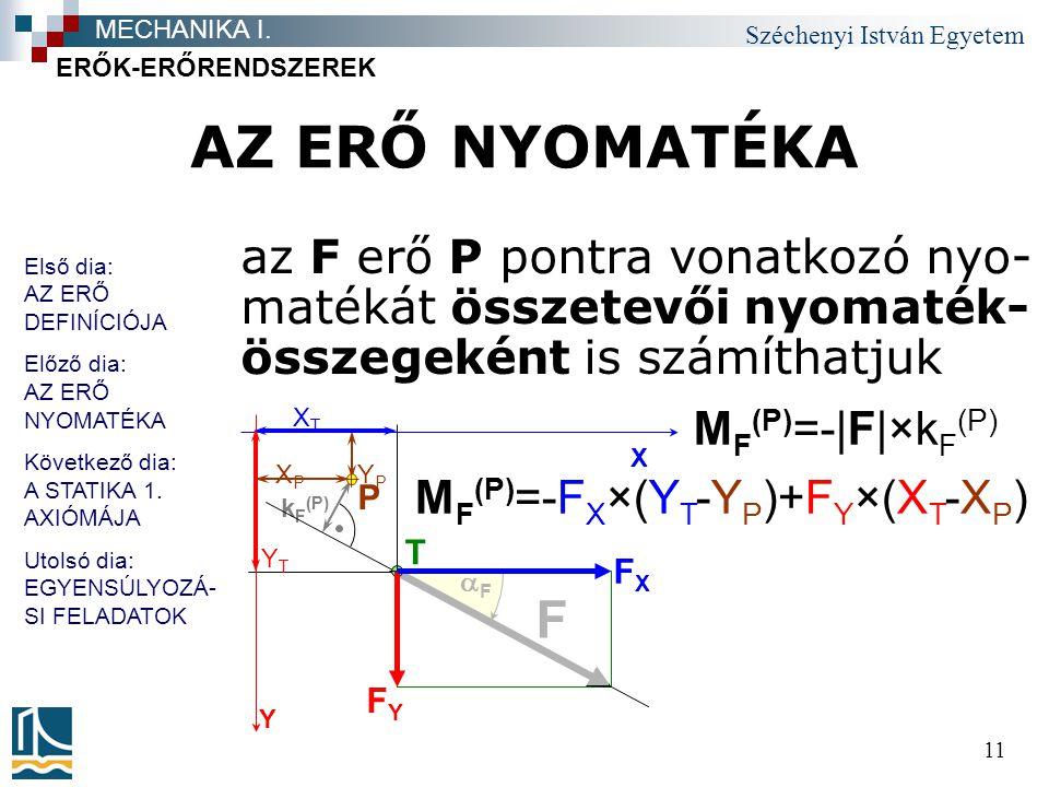 Széchenyi István Egyetem 11 AZ ERŐ NYOMATÉKA az F erő P pontra vonatkozó nyo- matékát összetevői nyomaték- összegeként is számíthatjuk ERŐK-ERŐRENDSZE