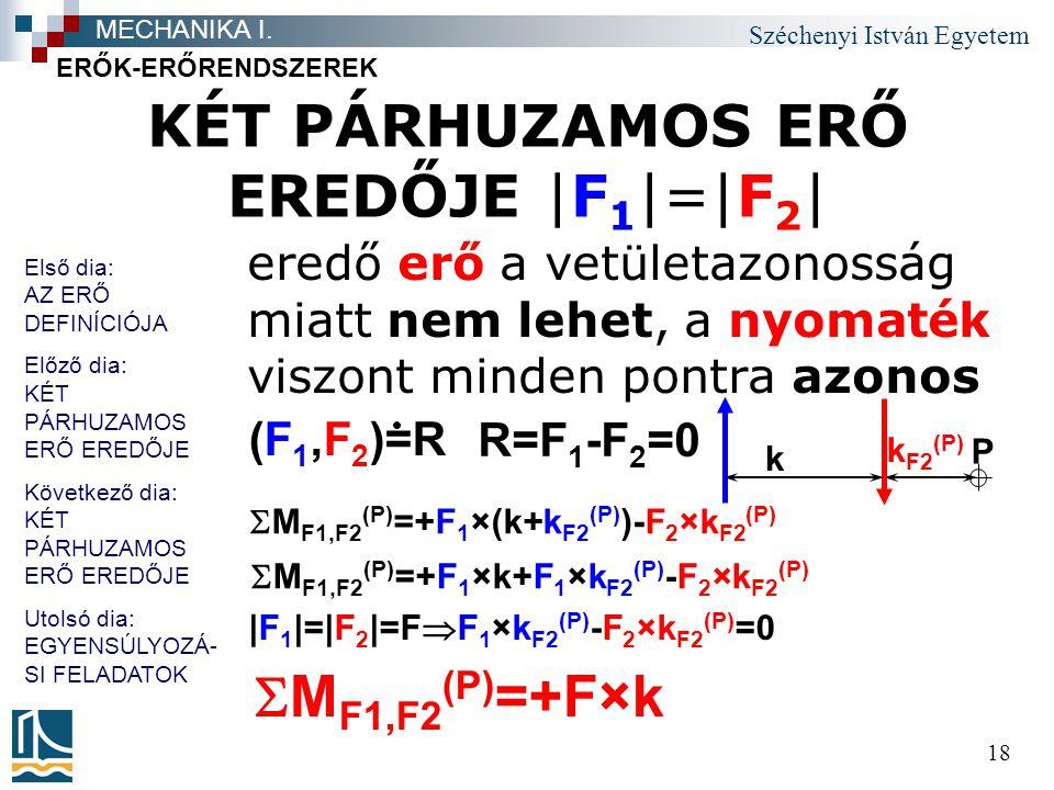 Széchenyi István Egyetem 18 KÉT PÁRHUZAMOS ERŐ EREDŐJE |F 1 |=|F 2 | eredő erő a vetületazonosság miatt nem lehet, a nyomaték viszont minden pontra az