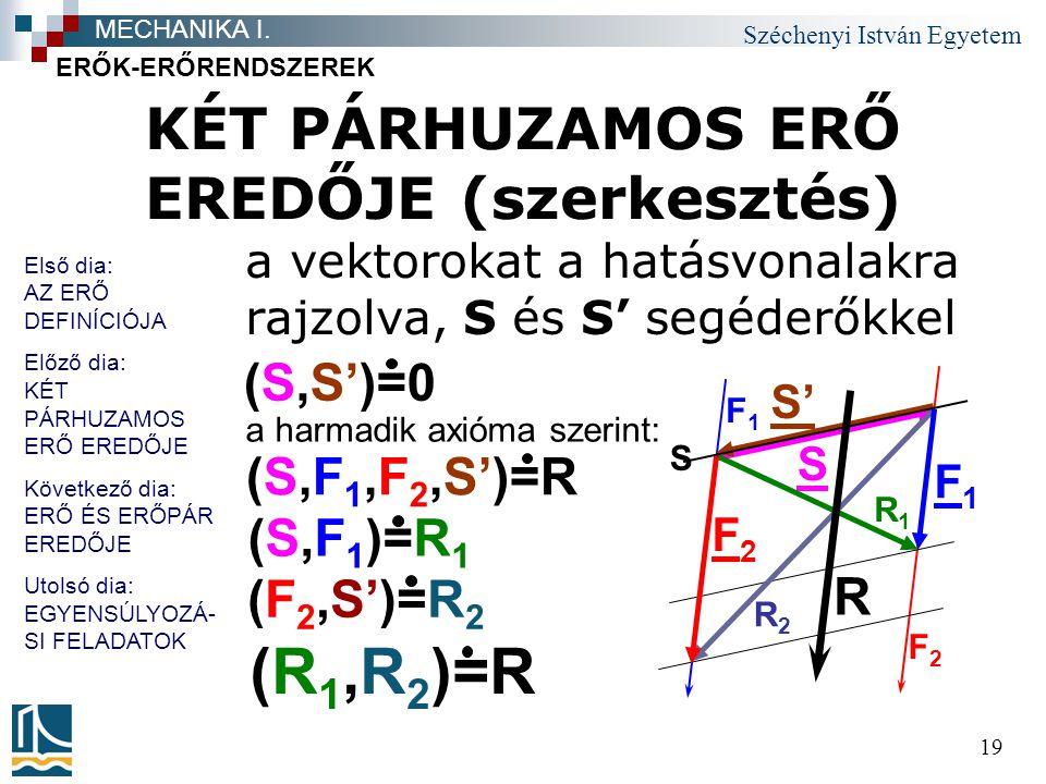 Széchenyi István Egyetem 19 KÉT PÁRHUZAMOS ERŐ EREDŐJE (szerkesztés) a vektorokat a hatásvonalakra rajzolva, S és S' segéderőkkel ERŐK-ERŐRENDSZEREK M