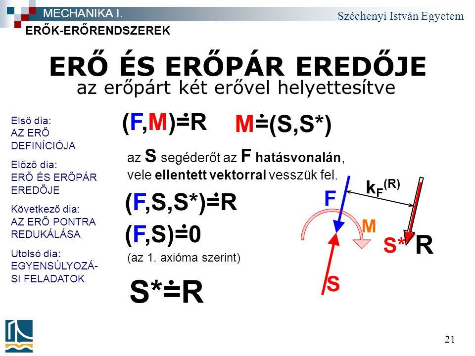 Széchenyi István Egyetem 21 ERŐ ÉS ERŐPÁR EREDŐJE az erőpárt két erővel helyettesítve ERŐK-ERŐRENDSZEREK MECHANIKA I. F M R k F (R) S S* (F,M)=R az S