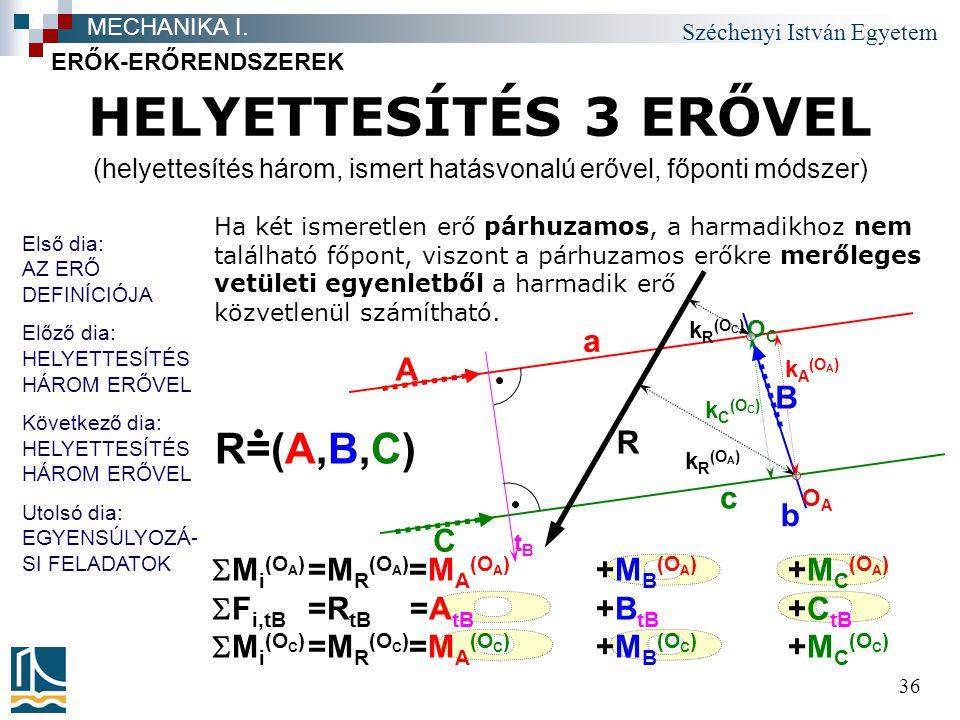 Széchenyi István Egyetem 36 ERŐK-ERŐRENDSZEREK MECHANIKA I.  M i (O A ) =M R (O A ) =M A (O A ) +M B (O A ) +M C (O A )  F i,tB =R tB =A tB +B tB +C